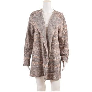 Lucky Brand Aztec Open Front Wrap Cardigan